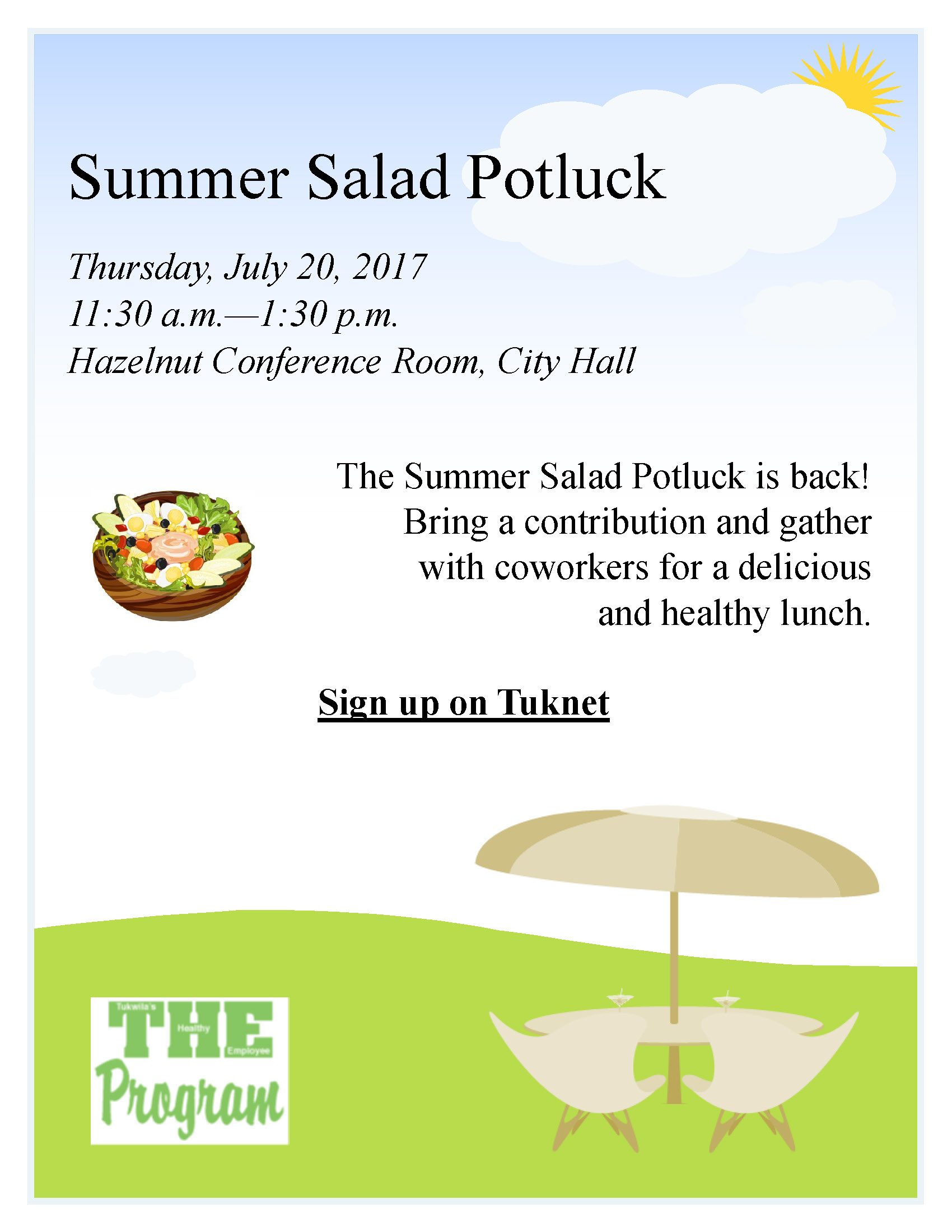 tuknet summer salad potluck flyer city of tukwila