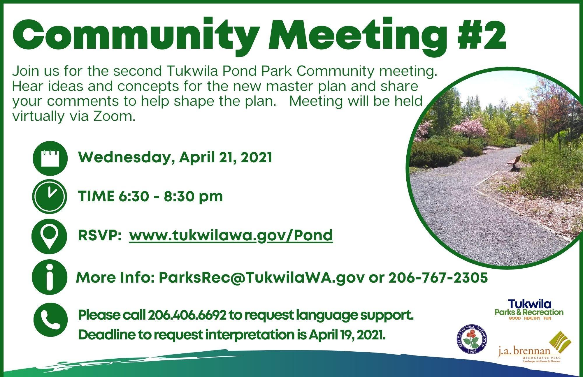 Tukwila Pond Master Plan Community Meeting #2